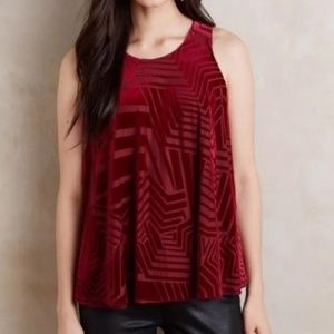 Sunday In Brooklyn Red Velvet Sleeveless Top